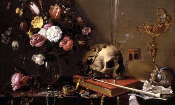 Adriaen van Utrecht- Vanitas - Still Life with Bouquet and Skull